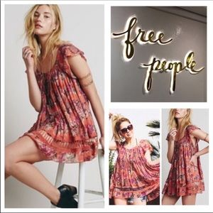 Free People One Peach Floral Printed Artemis Tunic